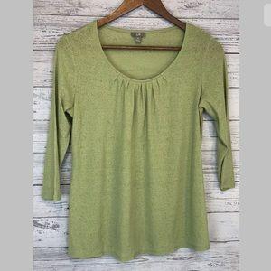 J.jill green semi sheer shirt pleated xs